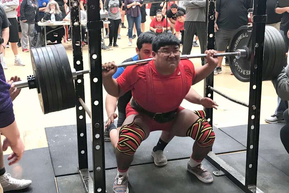 Plainview's Octavius Vera squat-lifts 675 pounds during the Levelland meet Saturday. Vera won the 275-pound weight class with a total of 1,570 pounds lifted and also was named the Most Outstanding Lifter of the meet. Photo: Courtesy Photo