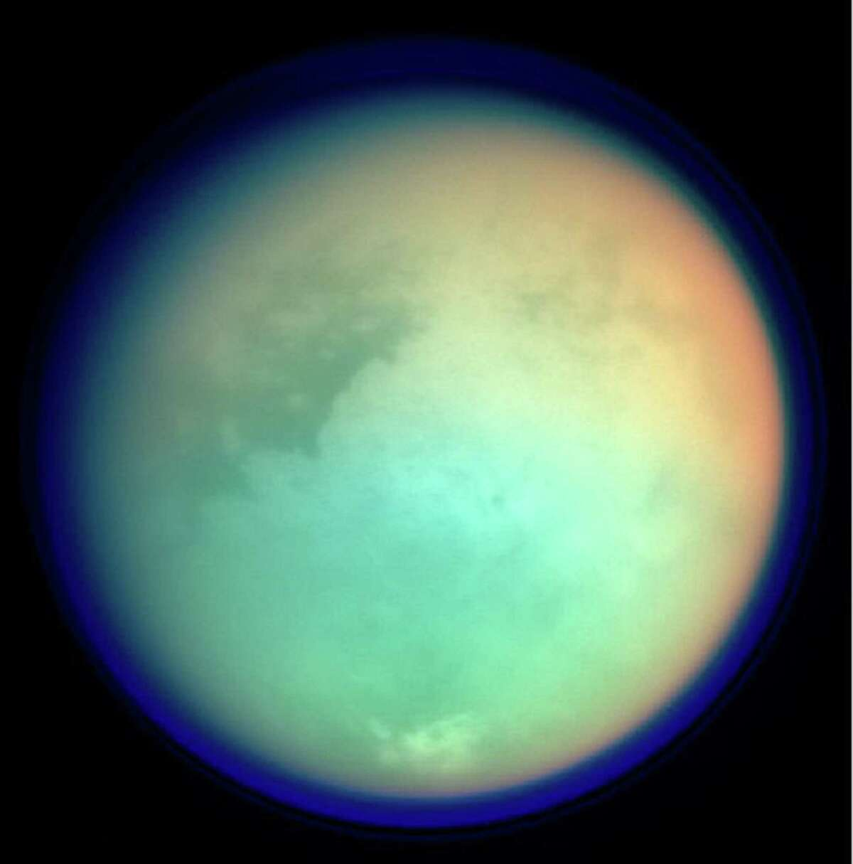 This photo shows Saturn's moon, Titan, in ultraviolet and infrared wavelengths. Scientists have been fascinated with Titan for many years because, similar to Earth, Saturn's largest moon has a nitrogen-dominated atmosphere.