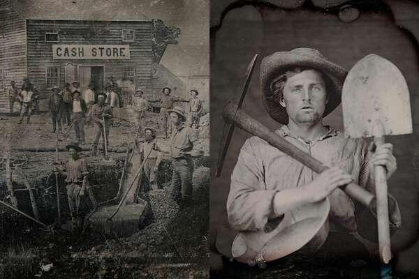Left: Unknown photographer. Outdoor scene with a group of unidentified miners in front of a cash store. c. 1850.  Right: Portrait of an unidentified man with mining tools by an unknown photographer. c. 1851.  Photos courtesy RVB Books/Canadian Photography Institute