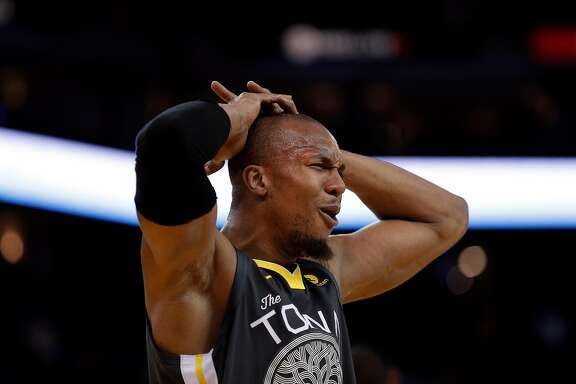 David West (3) reacts to being called for a foul in the first half as the Golden State Warriors played the San Antonio Spurs at Oracle Arena in Oakland, Calif., on Saturday, February 10, 2018.