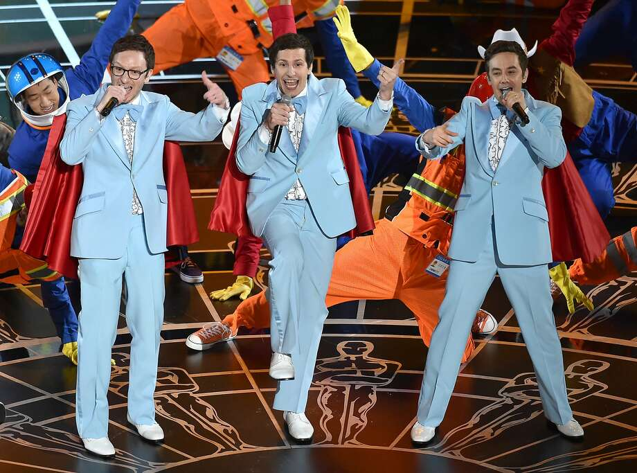 Akiva Schaffer, from left, Andy Samberg and Jorma Taccone of The Lonely Island perform at the Oscars on Sunday, Feb. 22, 2015, at the Dolby Theatre in Los Angeles. (Photo by John Shearer/Invision/AP) Photo: John Shearer / Invision 2015