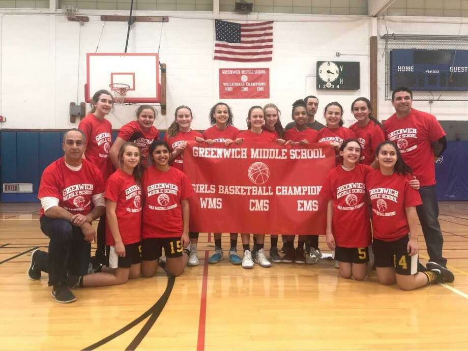 Western Middle School's girls basketball team won the Greenwich Middle School championships. Pictured in the back row, from left, Madison Murphy, Angela Zarrilli, Ceci Tauber, Mackenzie Nelson, Ava Sollenne, Daniela Pompa, Fallon Martin, Gene Nieuwoudt, Bianca Granitto and coach Seth Kalinski. Front row, from left, coach Gaspare Lipari, Angelica Veronis, Kimia Mootabar, Mary Kanos and Catherine Utzinger. Photo: Contributed Photo