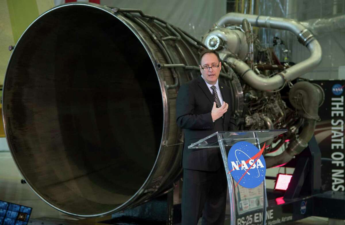 Acting NASA Administrator Robert Lightfoot discusses the fiscal year 2019 budget proposal during a State of NASA address Monday at Marshall Space Flight Center in Huntsville, Ala.