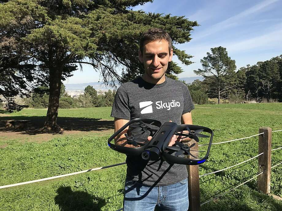 Adam Bry, CEO and co-founder of Redwood City drone maker Skydio, demonstrates the company's first model, the R1, in John McLaren Park in San Francisco on Friday, Feb. 9, 2018. Photo: Benny Evangelista/The Chronicle