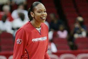Houston Comets Tina Thompson during warmups before WNBA action between the Houston Comets and the New York Liberty, Aug. 7, 2007 in Houston, Texas.