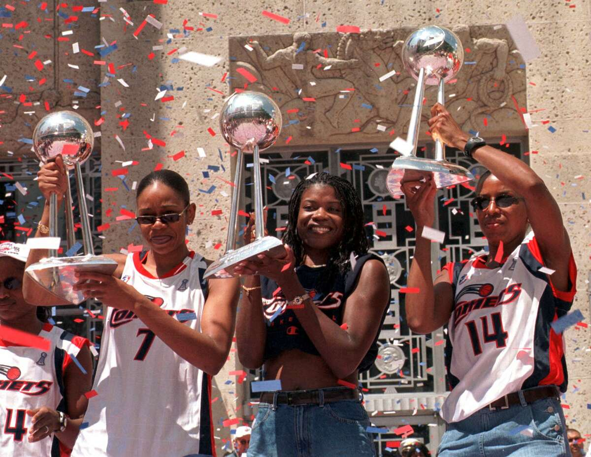 Tina Thompson, left, joins former Comets teammates Sheryl Swoopes and Cynthia Cooper in the Hall of Fame.