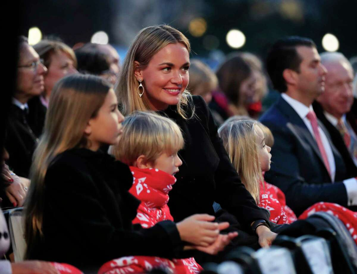 FILE - In this Thursday, Nov. 30, 2017, file photo, Donald Trump Jr., far second right, his wife Vanessa Trump, center, and their family, watch performances during the National Christmas Tree lighting ceremony at the Ellipse near the White House in Washington. New York police said Donald Trump Jr.'s wife, Vanessa Trump, opened an envelope, Monday, Feb. 12, 2018, that contained white powder, felt ill and was taken to New York City hospital as a precaution. They said Vanessa Trump called 911 Monday morning after opening a letter addressed to Donald Trump Jr. at their midtown Manhattan apartment. Police said she said she was coughing and felt nauseous. (AP Photo/Manuel Balce Ceneta)
