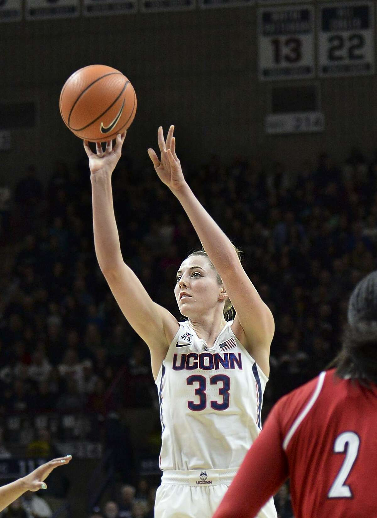 UConn's Katie Lou Samuelson puts up a shot against Louisville on Monday in Storrs.