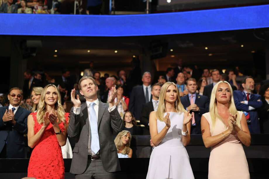 FILE-- From left: Lara Yunaska, Eric Trump, Ivanka Trump and Vanessa Trump applaud during day two of the Republican National Convention at Quicken Loans Arena in Cleveland, July 19, 2016. An envelope containing a white powdery substance caused Vanessa Trump and her mother, Bonnie Haydon, to be hospitalized on the morning of Feb. 12, 2018, but the New York Police Department later determined the powder was not hazardous, a police official said. (Sam Hodgson/The New York Times) Photo: SAM HODGSON, STR / NYTNS