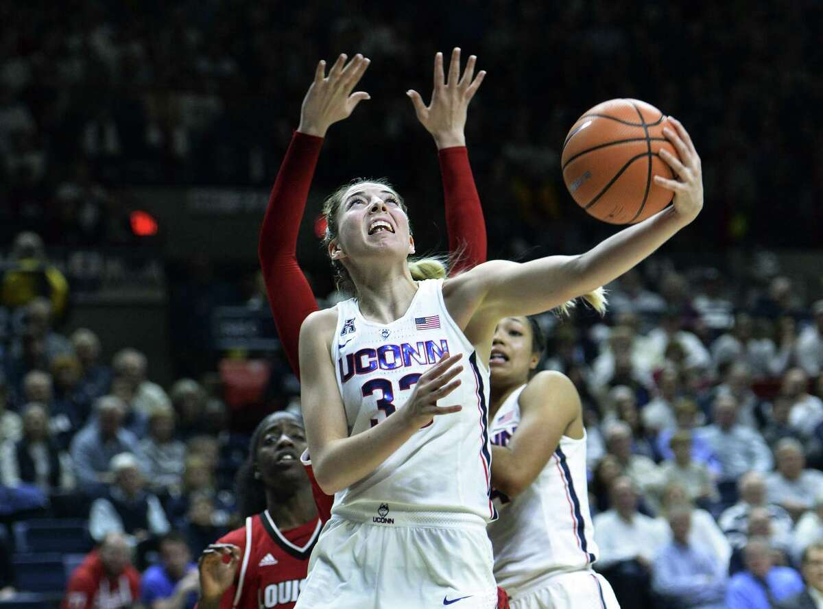 UConn's Katie Lou Samuelson scores two of her game-high 26 points in the second half Monday in Storrs.