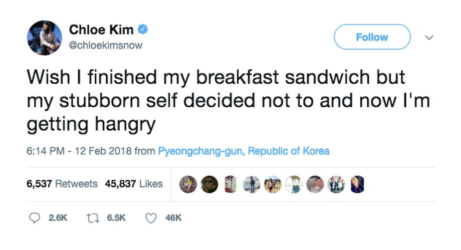 Chloe Kim tweeted about food during a competition on two separate occasions. Photo: Twitter