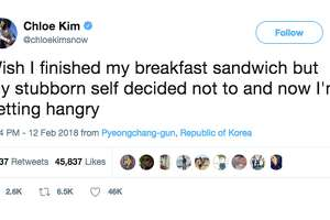 Chloe Kim tweeted about food during a competition on two separate occasions.