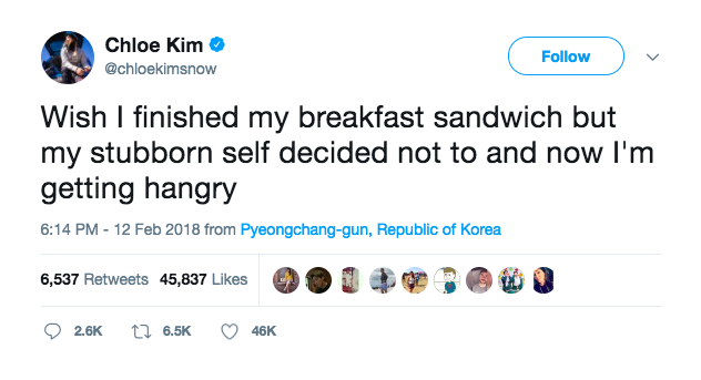 Chloe Kim tweets about being 'hangry' minutes before final gold medal run