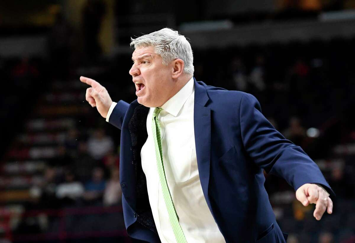 Siena's head coach Jimmy Patsos instructs his players against Iona during the first half of an NCAA men's college basketball game Monday, Feb. 12, 2018, in Albany, N.Y. (Hans Pennink / Special to the Times Union)
