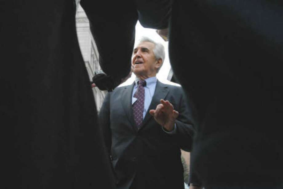 Ex-state  Sen. Joseph L. Bruno talks with the media as he arrives at the federal courthouse in Albany, NY on Tuesday, Nov. 10, 2009 for his  trial on felony corruption charges.    (Paul Buckowski / Times Union)