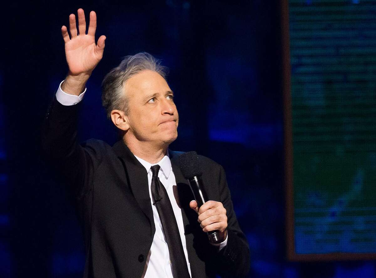 FILE - In this Feb. 28, 2015 file photo, Jon Stewart appears onstage at Comedy Central's