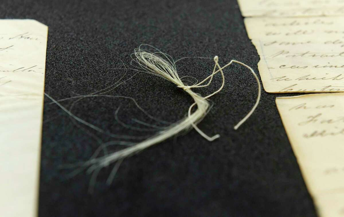 Strands of George Washington's hair seen here at Union College on Thursday, Feb. 8, 2018, in Schenectady, N.Y. (Paul Buckowski/Times Union)