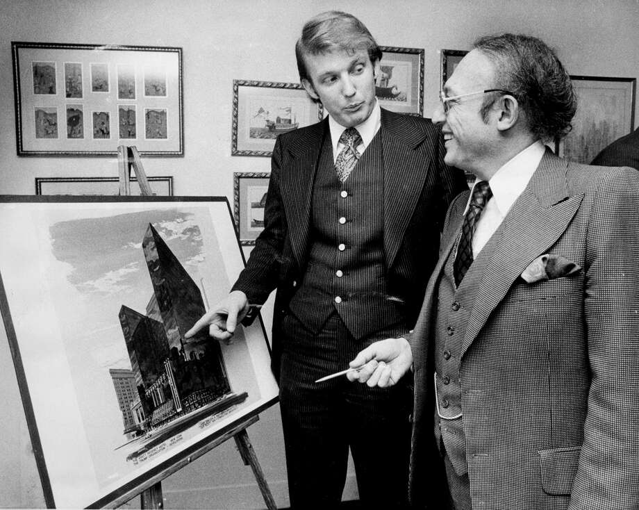 UNITED STATES - MARCH 02:  Donald Trump with Alfred Eisenpreis, New York City Economic Development Administrator. Sketch of new 1,400 room Renovation project of Commodore Hotel.  (Photo by NY Daily News Archive via Getty Images) Photo: New York Daily News Archive/NY Daily News Via Getty Images