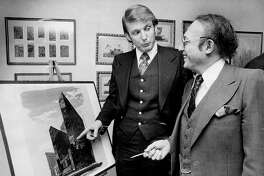 UNITED STATES - MARCH 02:  Donald Trump with Alfred Eisenpreis, New York City Economic Development Administrator. Sketch of new 1,400 room Renovation project of Commodore Hotel.  (Photo by NY Daily News Archive via Getty Images)