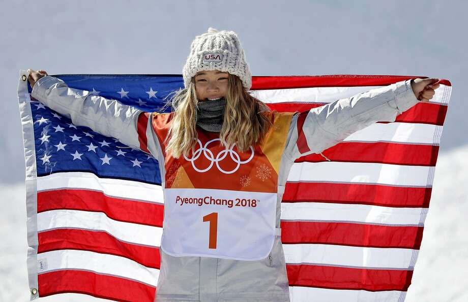 Chloe Kim, of the United States, celebrates winning gold in the women's halfpipe finals at Phoenix Snow Park at the 2018 Winter Olympics in Pyeongchang, South Korea, Tuesday, Feb. 13, 2018.  Photo: Gregory Bull, Associated Press