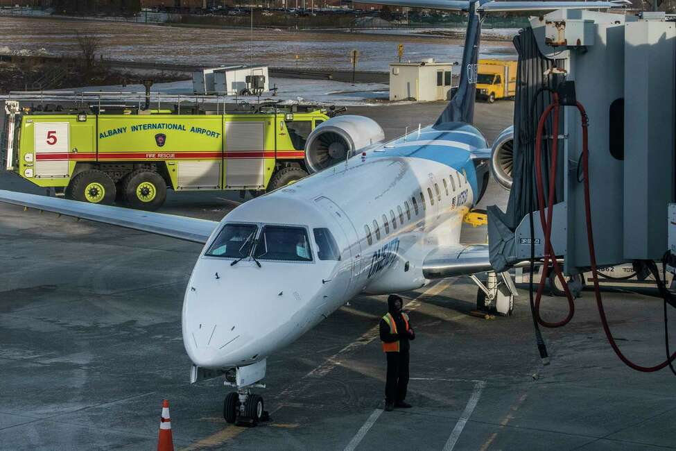 The inaugural flight of the OneJet service between Albany and Buffalo arrives this morning Tuesday Feb. 13, 2018 at the Albany International Airport in Albany, N.Y. (Skip Dickstein/Times Union)