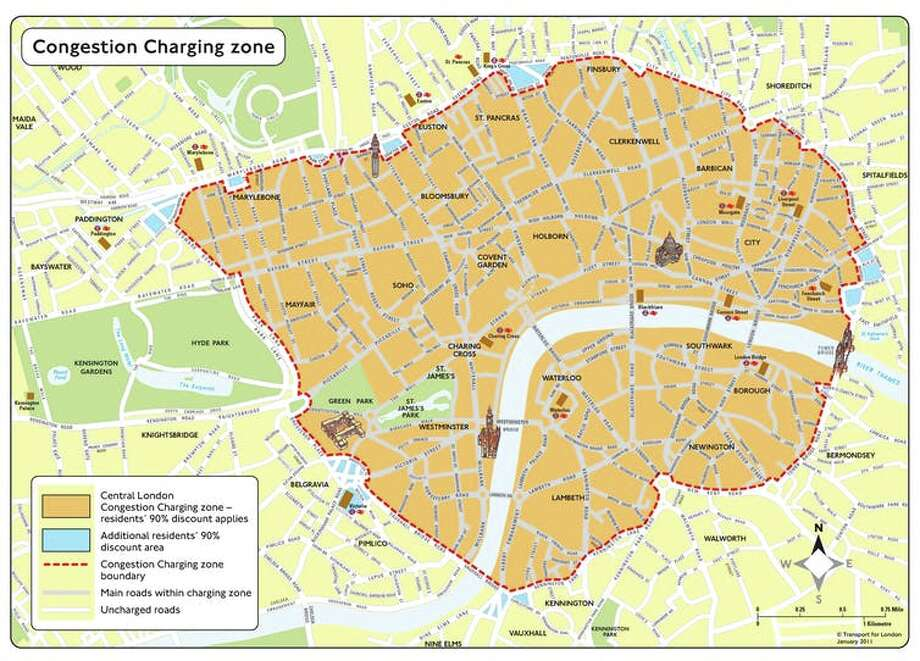 Congestion pricing in London about $3.63 billion in its first decade, almost half of which was invested in public transport and infrastructure improvements. Photo: Transport For London