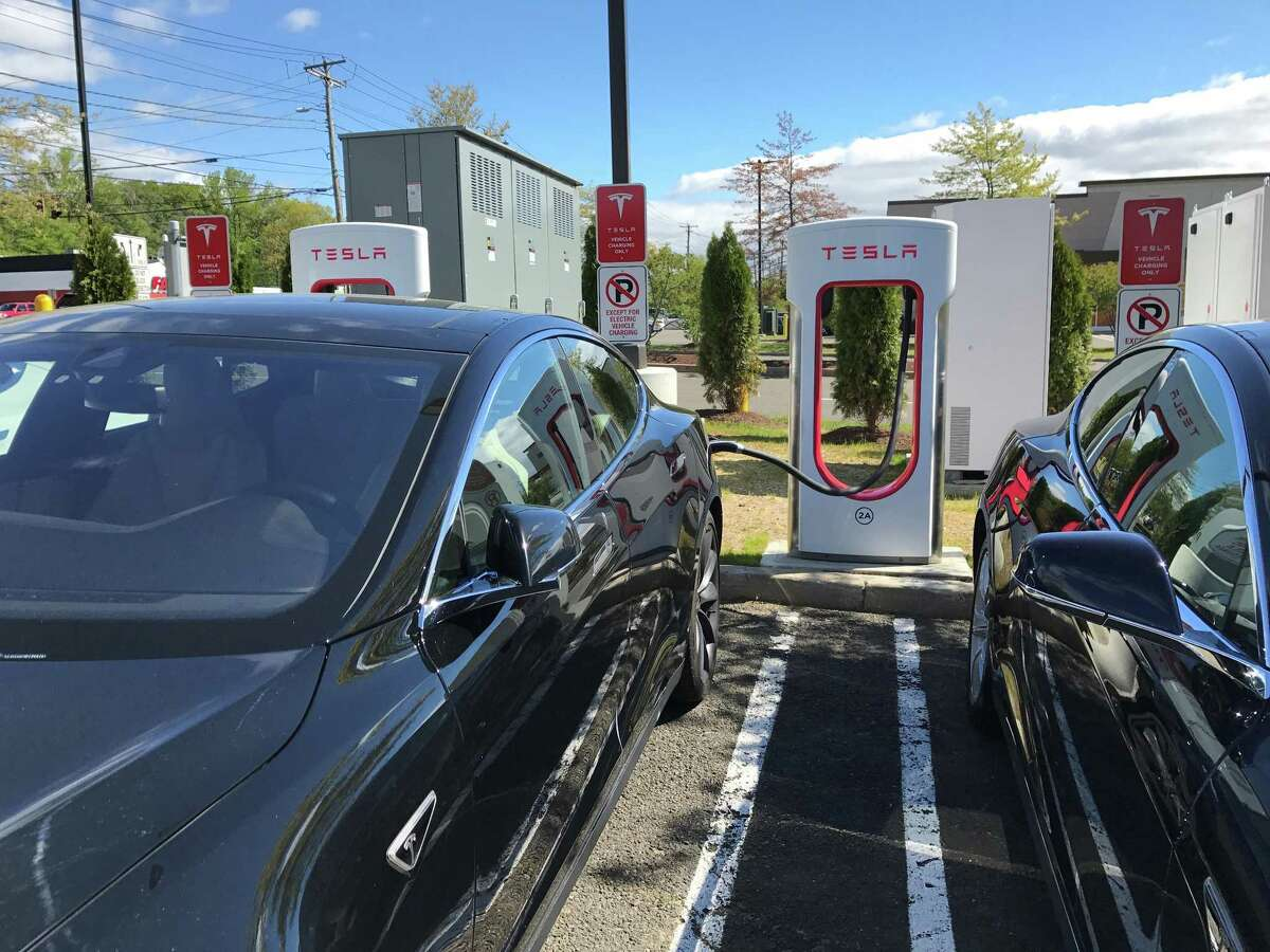 A Tesla Supercharger station at the Connecticut Post mall in Milford, Conn.