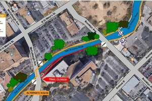 """A portion of the Museum Reach trail on the River Walk will be closed for building construction """"until further notice,"""" officials with the San Antonio River Authority said Feb. 12, 2018."""