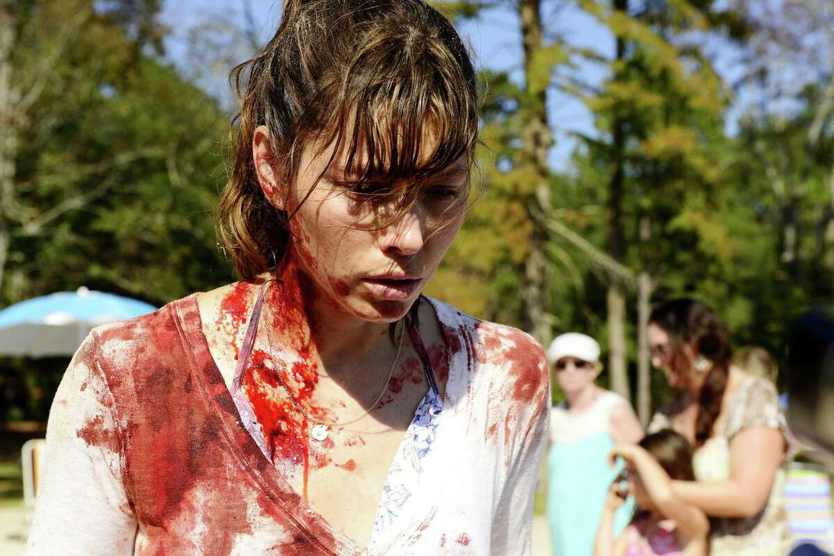 Jessica Biel snaps on a family outing in the USA Network miniseries