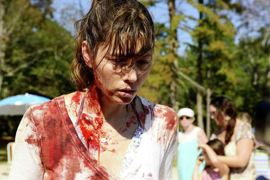 "Jessica Biel snaps on a family outing in the USA Network miniseries ""The Sinner."" Photo: Brownie Harris /USA Network / Internal"