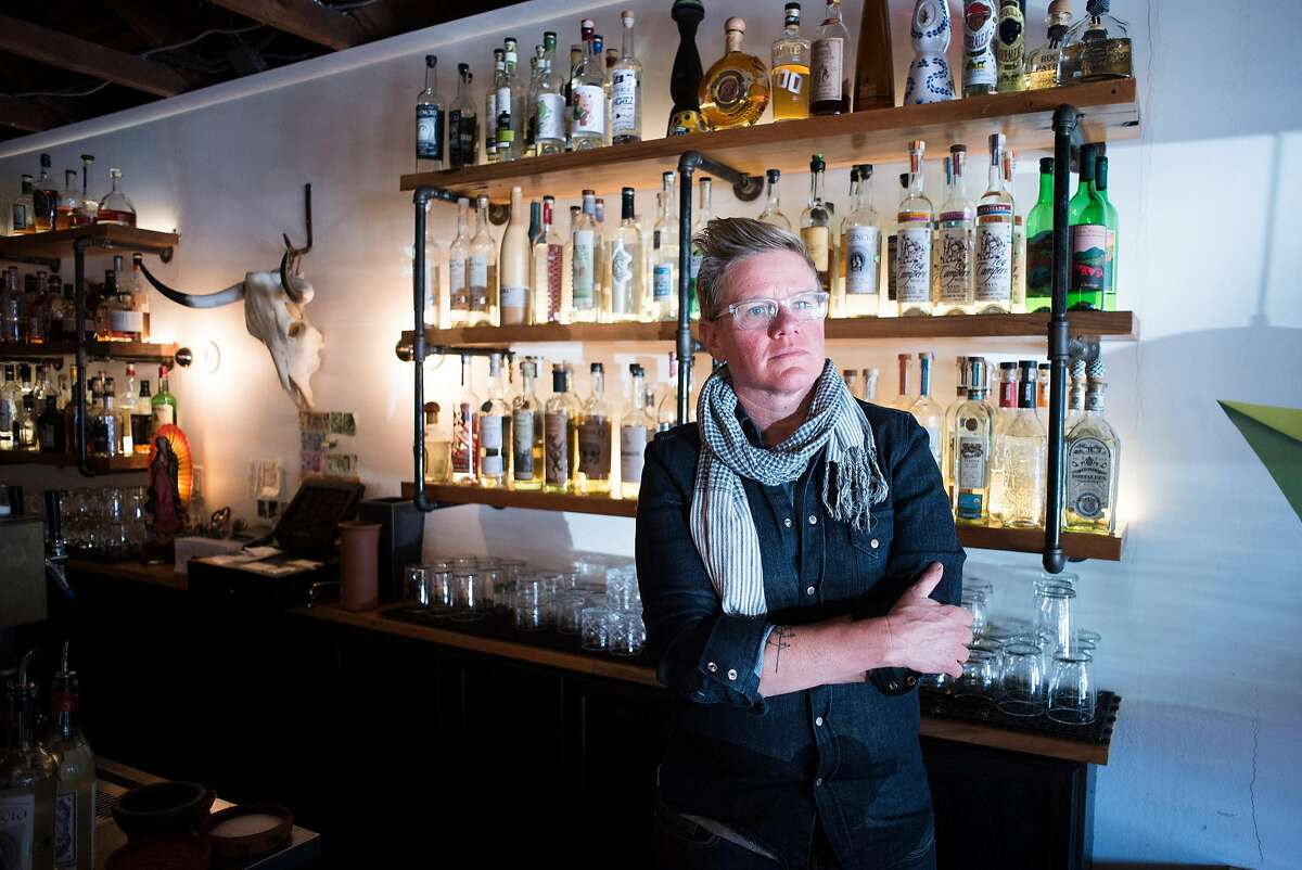 Bar owner and restaurateur Crista Luedtke at her bar El Barrio, a bar in Guerneville, CA specializing in tequila, mezcal, bourbon and craft cocktails on Feb. 3, 2018.
