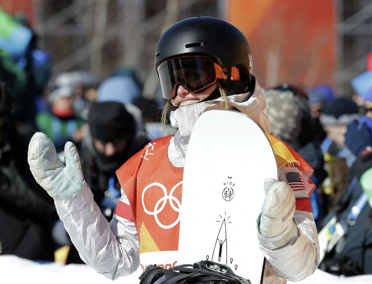 Julia Marino, of Westport, reacts to her score during the women's slopestyle final at Phoenix Snow Park at the 2018 Winter Olympics on Monday in Pyeongchang, South Korea, Monday.