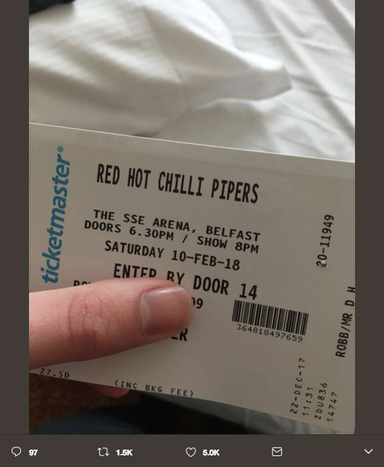 Duncan Robb mistakenly bought tickets to see the Red Hot Chilli Pipers, rather than the funk-rock band Red Hot Chili Peppers. Photo: Twitter Screen Grab