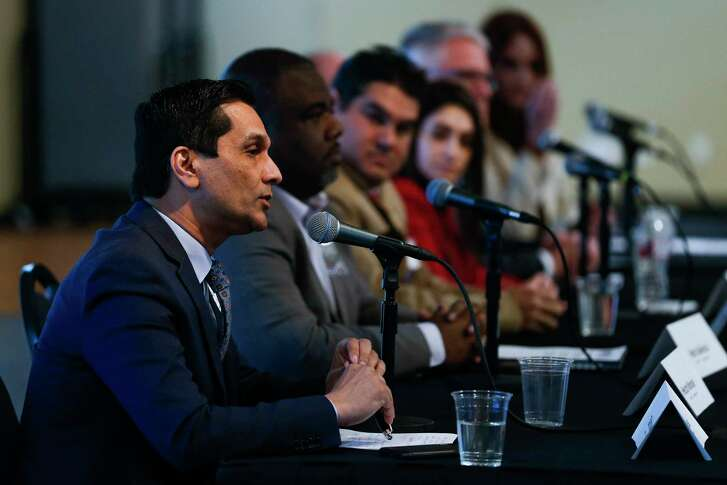 United States Congressional District 29 candidate Tahir Javed, left, answers a question during the Houston Congressional Candidate Forum at Houston's First Baptist Church Thursday, Jan. 18, 2018 in Houston.