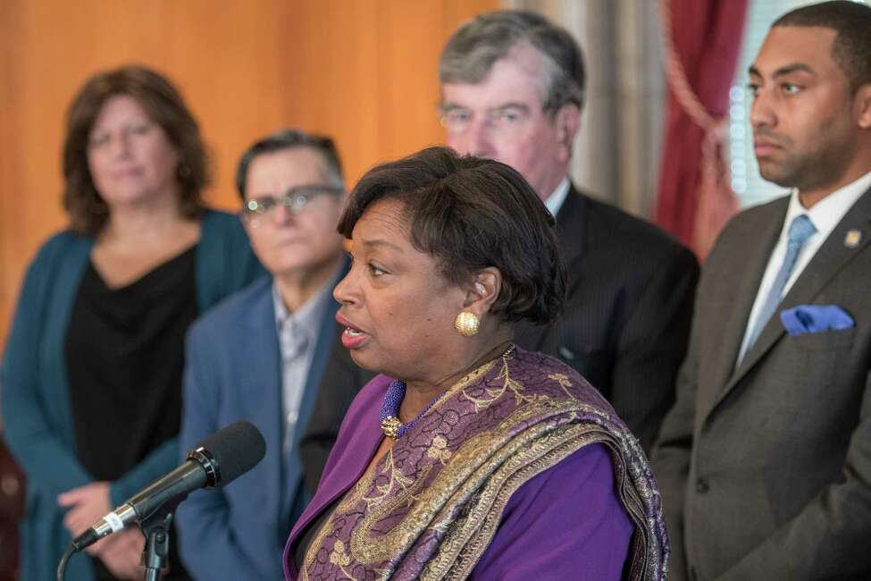 Senate Democrats lead by Senator Andrea Stewart-Cousins call to reform the New York Criminal Justice System during a press conference Tuesday Feb. 13, 2018 at the State Capitol in Albany, N.Y. (Skip Dickstein/Times Union)