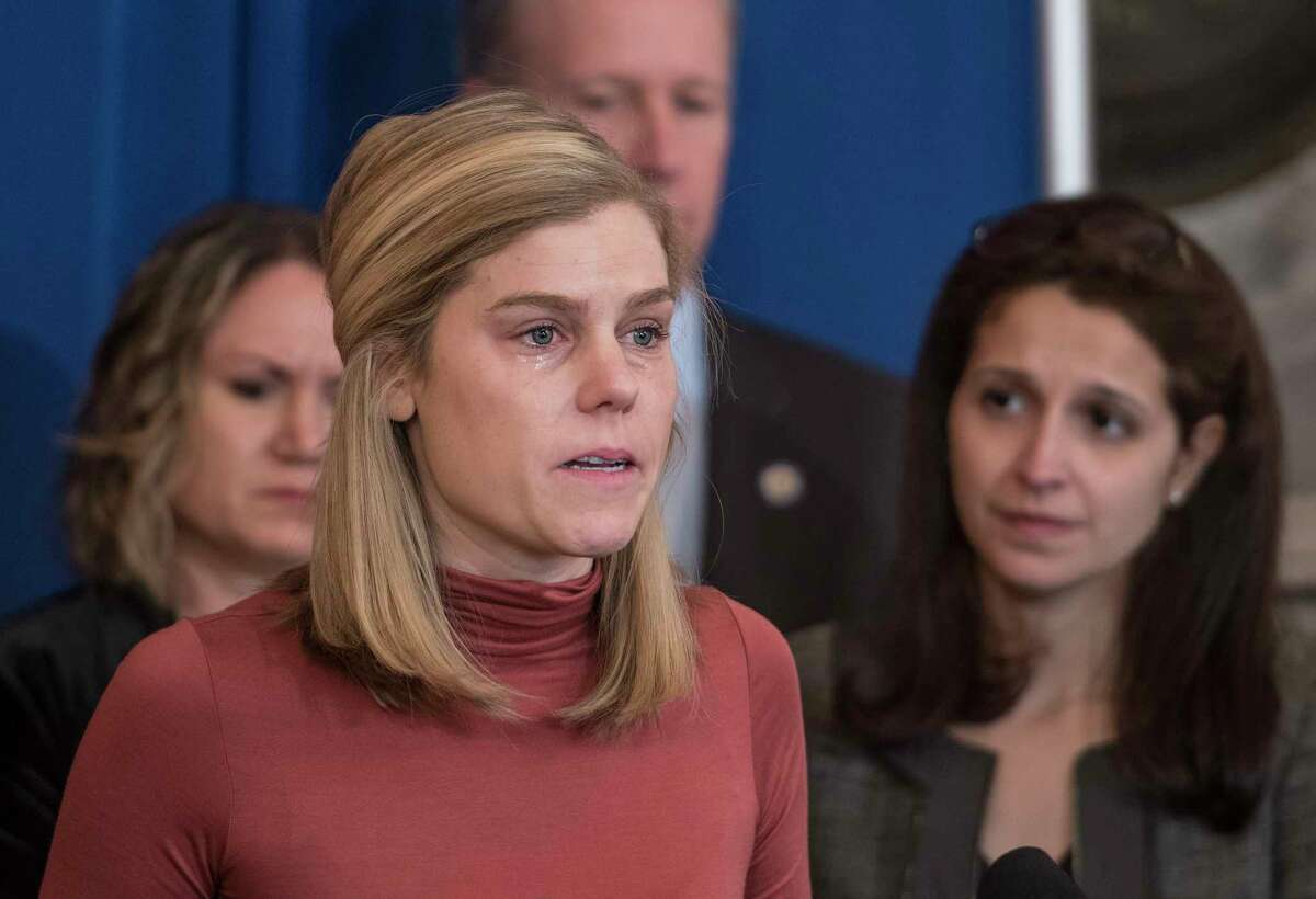 Abby Haglage of New York City gives a very emotional statement while calling for reform in the sexual assault legislation during a press conference on Tuesday, Feb. 13, 2018, at the State Capitol in Albany, N.Y. (Skip Dickstein/Times Union)