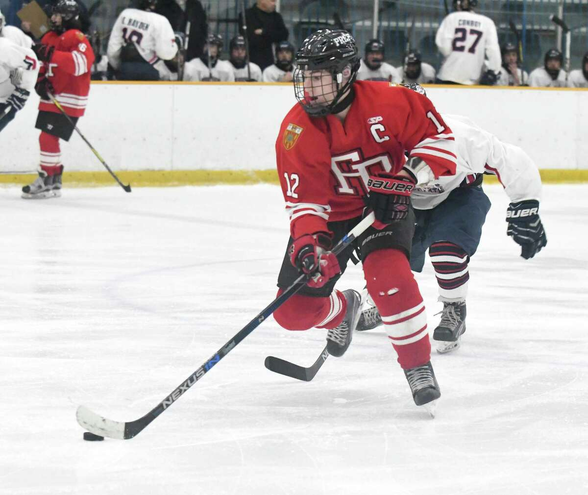 Ryan Eckert and his Fairfield Prep teammates host Ridgefield on Wednesday night at 6 at Bridgeport's Wonderland of Ice.