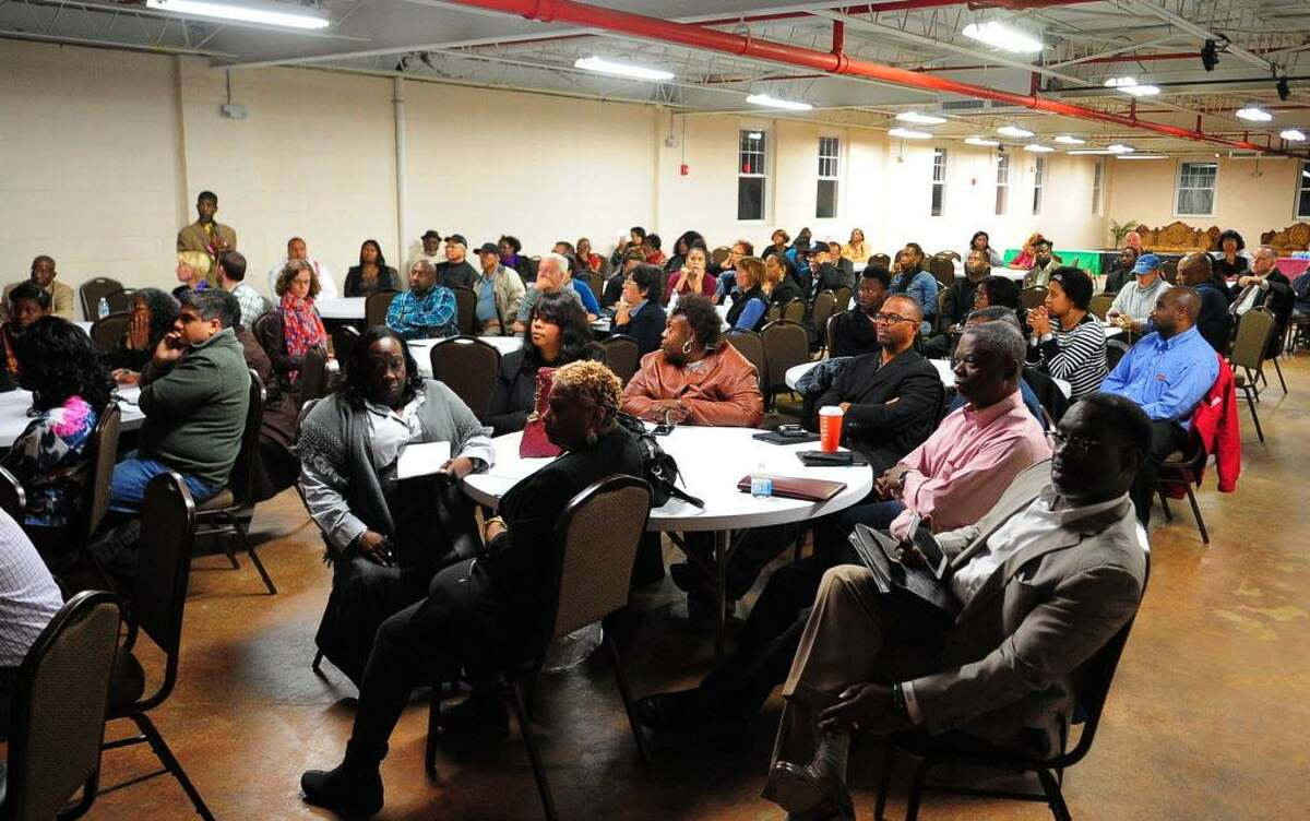 The community group East End NRZ meets with executives from MGM about the latter's planned casino in Bridgeport, Conn., on Wednesday Oct. 18, 2017.