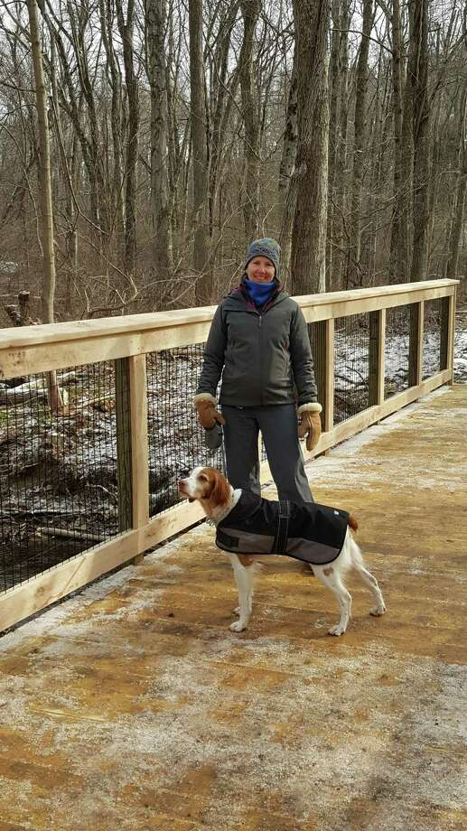Lynn and Luc enjoying the boardwalk on latest section of the Wilton Loop. Photo: Contributed Photo