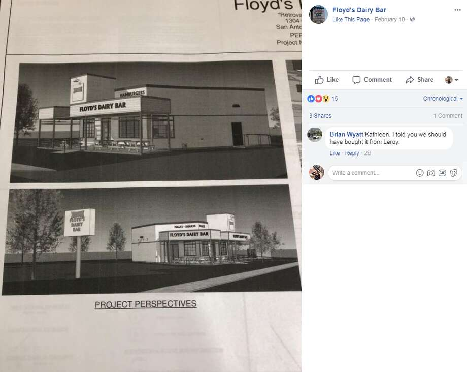 Renderings posted on the Floyd's Dairy Bar Facebook page show the restaurant's new look. Photo: Facebook.com Screengrabs