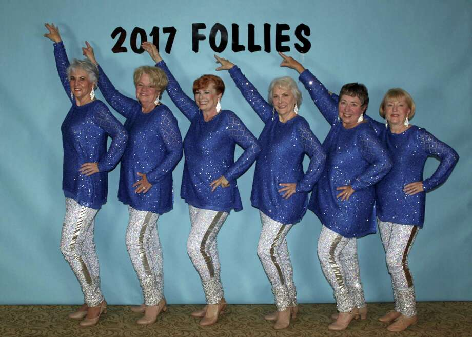 "The Jazzy Broads will dance to the tunes of ""Bye, Bye, Blackbird"" and ""Old Time Rock and Roll"" in ""It's Show Time!"" the 2018 Walden Follies March 1--3 in Walden Yacht Club.  Shown here from the 2017 Follies are left to right:  Sharon Richardson, Chris Brock, Jan Jessen, Diane Williams, Sandy Barron, and Mary Ann Lenhart. Not pictured is Lin Scheib who is new to the troupe this year. Dance instructor Elaine Barrow  choreographs for The Jazzy Broads."
