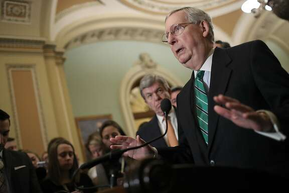WASHINGTON, DC - FEBRUARY 13:  Senate Majority Leader Mitch McConnell (R-KY) answers questions following the weekly policy luncheons at the U.S. Capitol on February 13, 2018 in Washington, DC. McConnell answered a range of questions focused primarily on the immigration reform efforts in the U.S. Senate.  (Photo by Win McNamee/Getty Images)