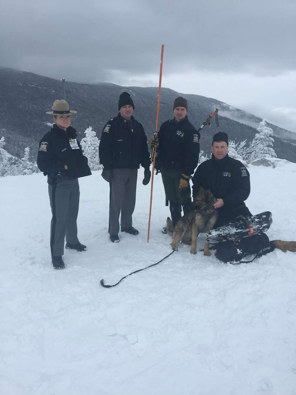 Members of the State Police on Whiteface Mountain while searching for missing skier, Constantinos