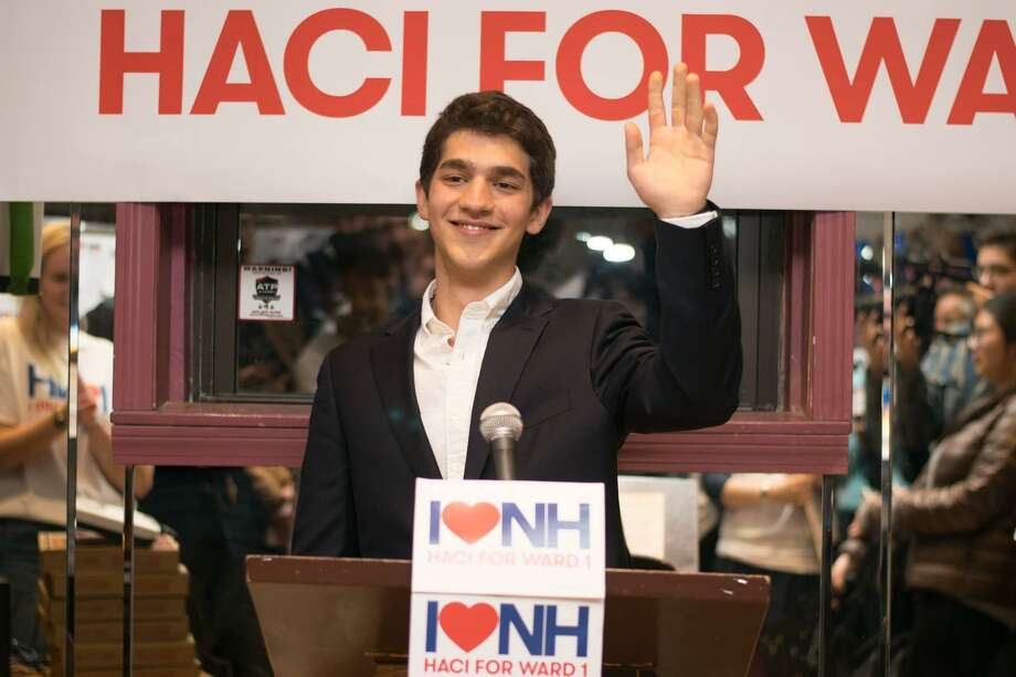 City Alder Hacibey Catalbasoglu, D-1, a Yale University junior, during a campaign event. Photo: File Photo