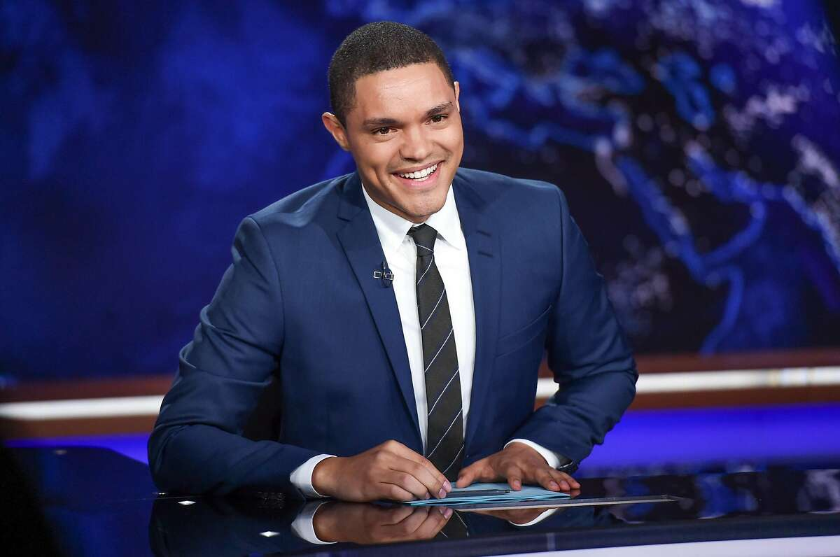 """FILE - In this Sept. 29, 2015 file photo, Trevor Noah appears on set during a taping of """"The Daily Show with Trevor Noah"""" in New York. Comedy Central says �Daily Show� host Trevor Noah underwent an emergency appendectomy Wednesday, Nov. 4. The procedure went well and Noah was expected back on the show on Thursday, the network said. A repeat episode was to be aired Wednesday. (Photo by Evan Agostini/Invision/AP, File)"""