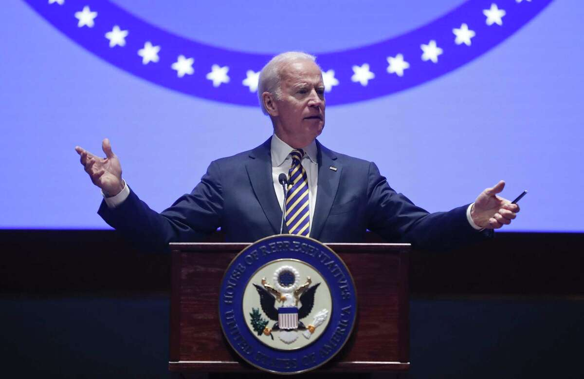 Former Vice President Joe Biden speaks to the House Democratic Issues Conference on Capitol Hill in Washington Feb. 7.