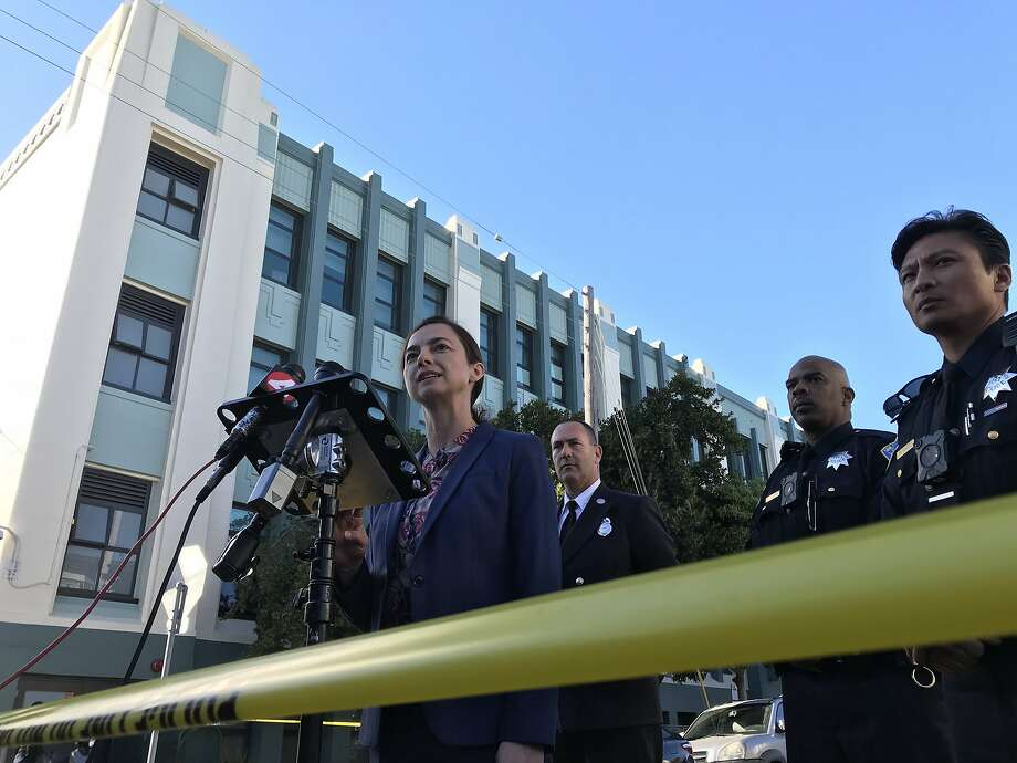 San Francisco Unified School District spokeswoman Gentle Blythe provides an update on James Lick Middle School students who took ill after ingesting an unknown substance. Photo: Jessica Christian, SFC