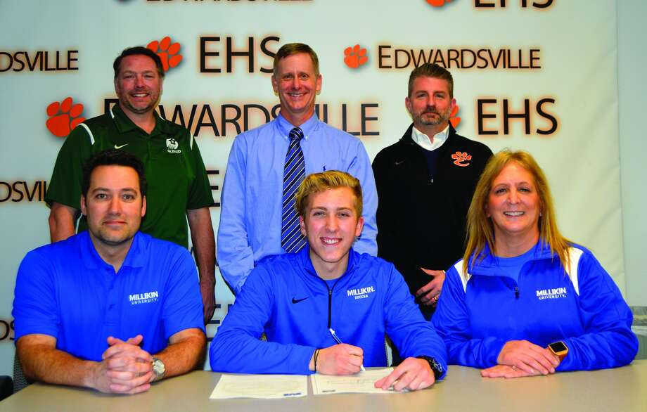 EHS senior Michael Hoelting, seated center, will play college soccer at Millikin.