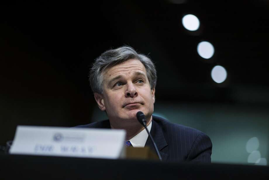 Christopher Wray, director of the Federal Bureau of Investigation (FBI), testifies during a Senate Intelligence Committee hearing on worldwide threats in Washington, D.C., U.S., on Feb. 13, 2018. From missiles to cyberattacks, the annual intelligence assessment of global threats paints a world where China and Russia seek to upend U.S. influence as allies uncertain of American commitment may turn away from Washington. Photographer: Zach Gibson/Bloomberg Photo: Zach Gibson, Bloomberg