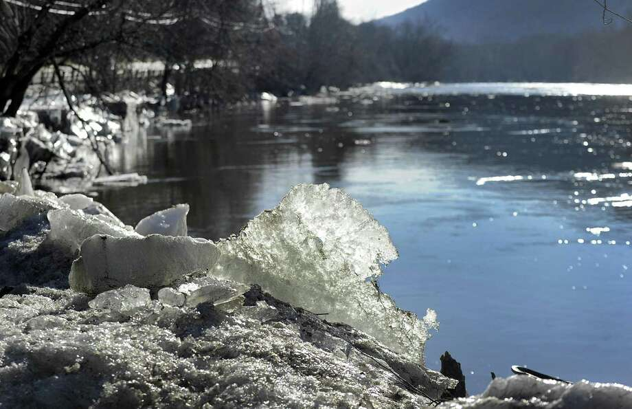 The ice that jammed the Housatonic River in Kent for several weeks has significantly melted, creating high water levels that can lead to flooding. Photo: Carol Kaliff / Hearst Connecticut Media / The News-Times